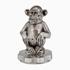 Art Deco Bronze Chimpanzee Sculpture by Marcel Guiraud-Rivière, 1920s
