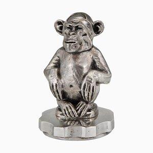 Escultura de chimpancé Art Déco de bronce de Marcel Guiraud Riviere, años 20