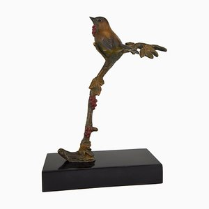 Art Deco Bronze Bird on a Branch Sculpture by Irénée Rochard, 1930s