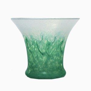 Grünblaue Glasvase von Salvador Ysart für Monart, 1930er