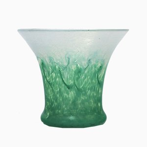 Sea Green and Pale Blue Glass Vase by Salvador Ysart for Monart, 1930s