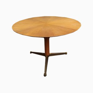 Table de Salle à Manger en Laiton & en Bois par Giulio Moscatelli, années 50