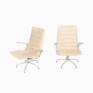Mid-Century Danish Leather Lounge Chairs by Jens Amundsen for Fritz Hansen, 1970s, Set of 2