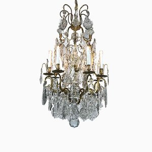 Antique French Crystal Ceiling Lamp, 1800s