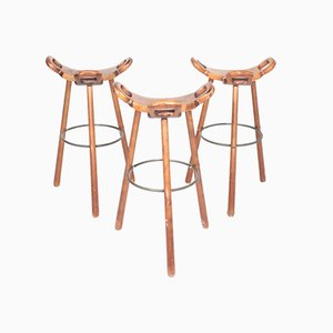 Spanish Bar Stools, 1960s, Set of 3