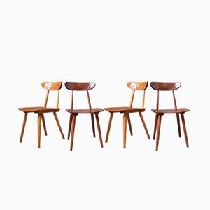 Zweifarbige skandinavische Esszimmerstühle, 1950er, 4er Set