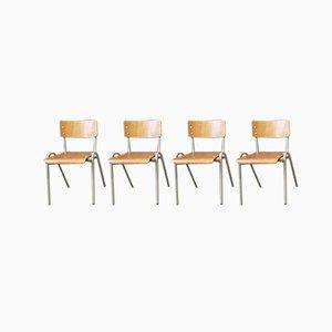 Industrielle französische Esszimmerstühle, 1970er, 4er Set