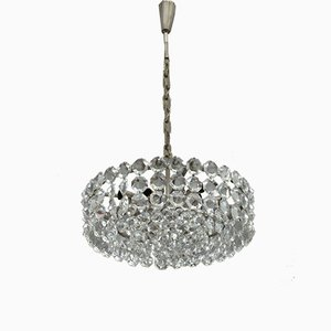 Diamond Cut Crystal & Chrome Chandelier by Bakalowits for Bakalowits & Söhne, 1950s