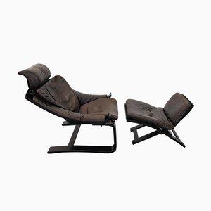 Vintage Sessel & Fußhocker Set von Åke Fribytter für Nelo Möbel
