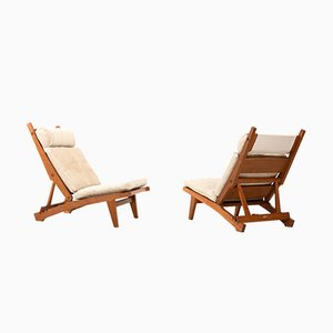 AP71 Reclining Lounge Chairs by Hans J. Wegner for A.P. Stolen, 1960s, Set of 2