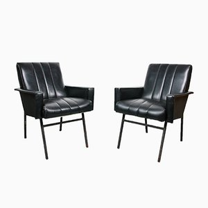 Mid-Century Black Leatherette Armchairs, Set of 2