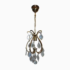 Art Deco Brass and Crystal Chandelier, 1940s
