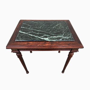 Louis XVI Style Marble, Brass & Wood Coffee Table, 1980s