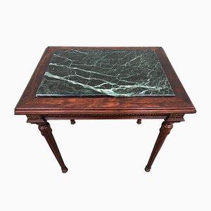 Table Basse Style Louis XVI en Marbre, Laiton & Bois, années 80