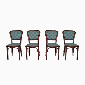 Antique Art Nouveau Dining Chairs by Gustav Siegel for Josef Hoffmann, 1910s, Set of 4