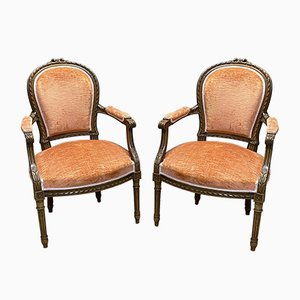 Vintage Louis XVI Style Walnut Armchairs, Set of 2