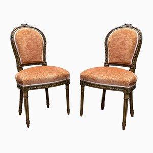 Vintage Louis XVI Esszimmerstühle aus Nussholz, 2er Set