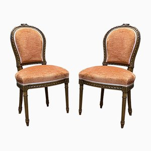 Vintage Louis XVI Style Walnut Dining Chairs, Set of 2