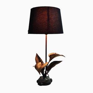 Lampe de Bureau Lily Vintage en Laiton, années 70