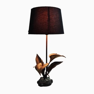 Vintage Brass Lily Table Lamp, 1970s