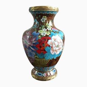 Cloisonné Vase aus Bronze, 19. Jh.