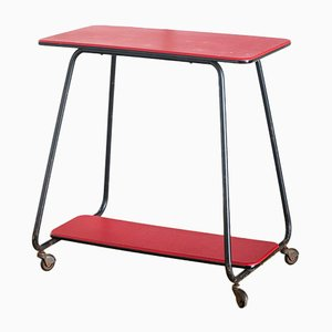 French Lacquered Iron & Faux Leather Side Table with Wheels, 1960s