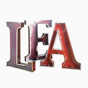 Industrielle Buchstaben aus Eisen, 1970er, 7er Set