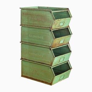 Lackierte spanische Eisenbehälter von Rapidbox, 1970er, 4er Set