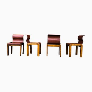 Leather & Plywood Dining Chairs by Tobia & Afra Scarpa, 1966, Set of 4