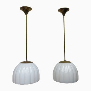 Art Deco Brass and Glass Ceiling Lamps, 1920s, Set of 2