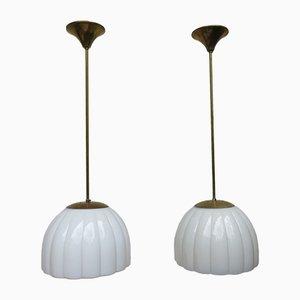 Art Déco Deckenlampen aus Messing & Glas, 1920er, 2er Set