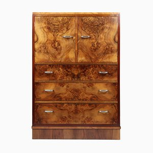 Art Deco English Walnut Cabinet, 1930s