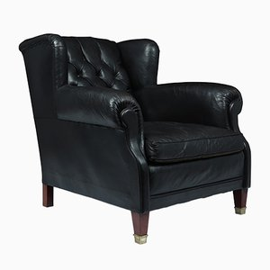 Danish Buttoned Black Leather Club Chair, 1940s