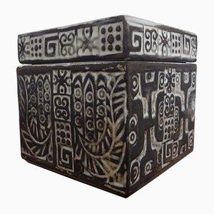 Scatola in ceramica con coperchio di Ceramano, anni '60