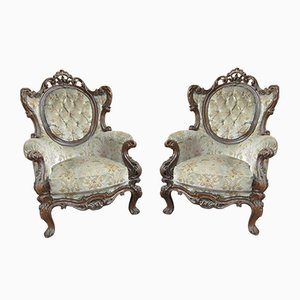 Baroque Style Carved Lounge Chairs, 1960s, Set of 2