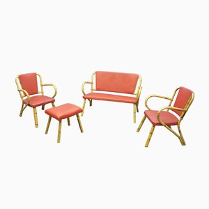 Bamboo Living Room Set, 1950s, Set of 4