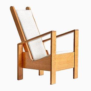 Französischer Modernistischer Eichenholz Armlehnstuhl, 1940er