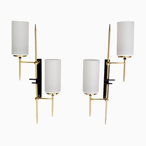 French Brass & Glass Mirror Sconces from Lunel, 1960s, Set of 2