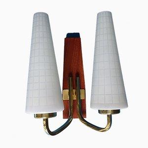 Danish Modern Teak, Brass & Glass Sconces, 1960s, Set of 2