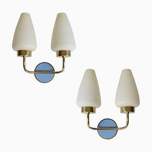 Italian Brass & Glass Sconces, 1950s, Set of 2