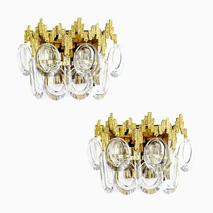 Brutalist Gold-Plated Brass & Crystal Glass Sconces by Palwa, 1960s, Set of 2