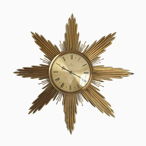 Large Mid-Century Brass Sunburst Wall Clock from Junghans, 1960s