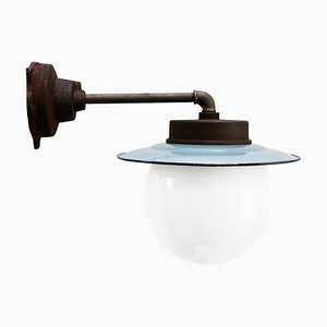 Mid-Century Industrial Cast Iron, Enamel & Opaline Glass Sconce