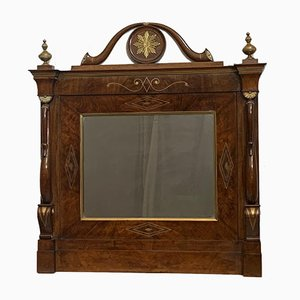 Antique Empire Charles X Inlaid Walnut & Brass Mirror, 1810s