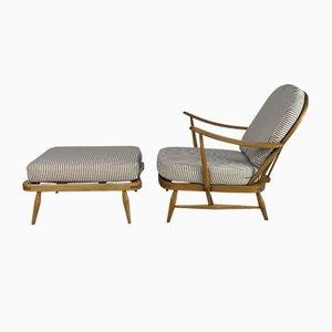 Windsor Sessel & Fußhocker von Lucian Ercolani für Ercol, 1970er