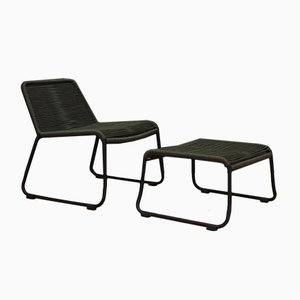 Lounge Chair and Footstool Set,
