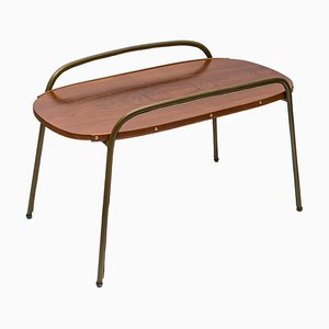 Mid-Century Leather Coffee Table by Jacques Adnet, 1950s