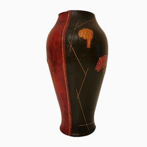 Italian Leather Vase, 1970s