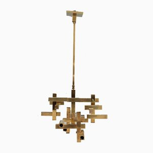 Brass Sculpture Ceiling Lamp by Gaetano Sciolari for Sciolari, 1970s