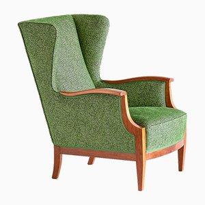 Mahogany & Fabric Wingback Armchair by Frits Henningsen, 1930s